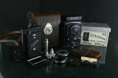 18302---极品成色Rolleiflex第一代标准双反相机一大套