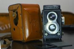 法国SEMFLEX 6X6双反相机,带原厂皮套片夹  可以正常拍摄,带摇柄