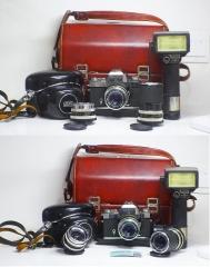 好成色,德国蔡司ZEISS IKON ICAREX 35S全套,一机三镜,带闪光灯皮套皮箱